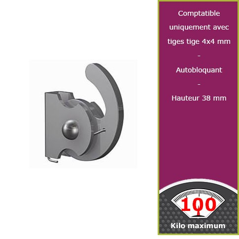 Self-locking hook 100 kg for 4x4 mm rod