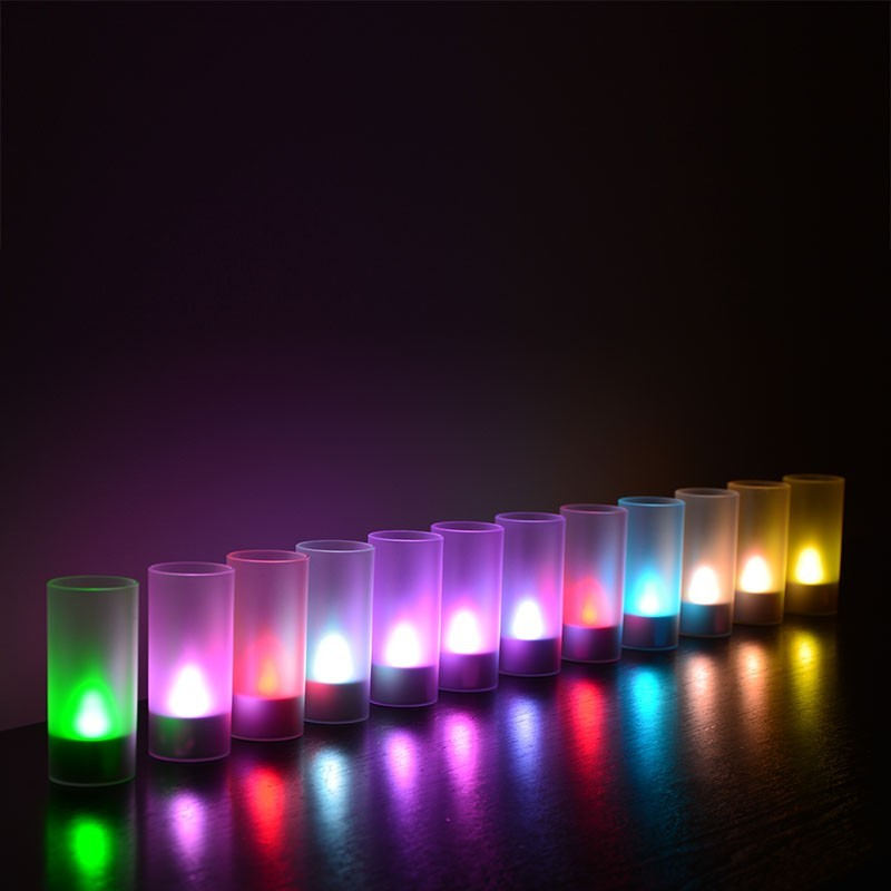 12 bougies led rechargeable mutlicolor. Black Bedroom Furniture Sets. Home Design Ideas
