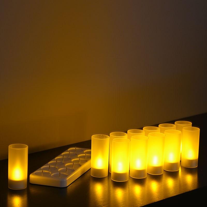 Set de 12 bougies à LED rechargeables