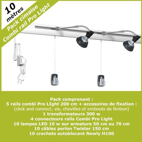 Pack complet cimaises Combi Pro Light 10 mètres