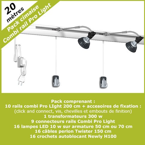 Pack complet cimaises Combi Pro Light 20 mètres