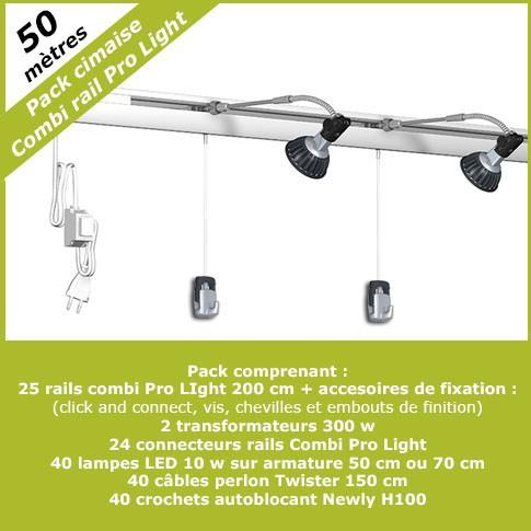 Pack complet cimaises Combi Pro Light 50 mètres