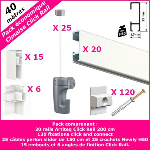 Pack Eco 40 m : cimaise Click Rail