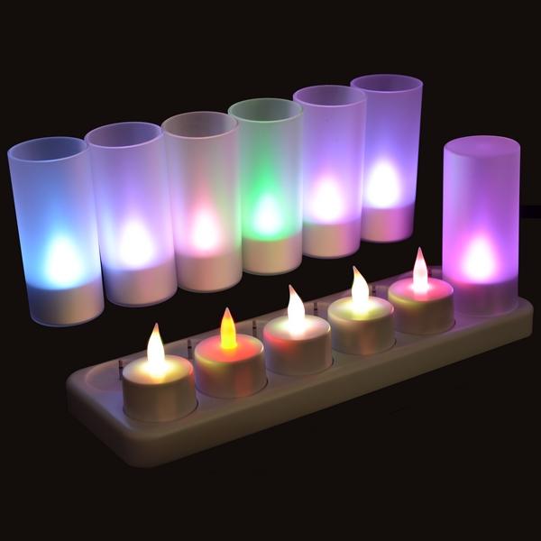 Set de 12 bougies multicolor à LED rechargeables