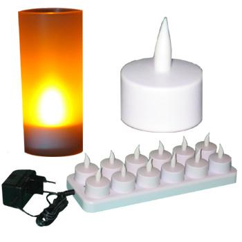 Set de 12 bougies jaune à LED rechargeables