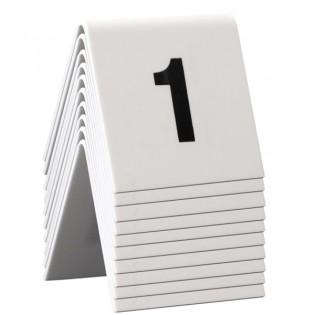 10 chevalets de table PVC blanc numérotés