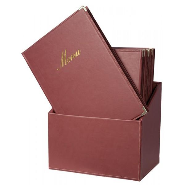 Protège-menus BOX Classique A4 Bordeaux