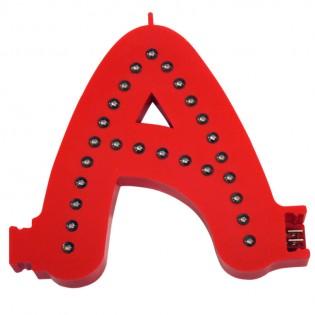 Lettre A couleur rouge à LED - Lettre lumineuse alphabet Smart LED pour enseigne vitrine