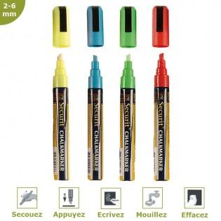 Feutre-craie couleur 2-6 mm par 4