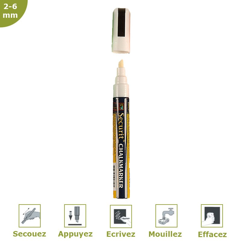 Fieltro-tiza blanca 2-6 mm