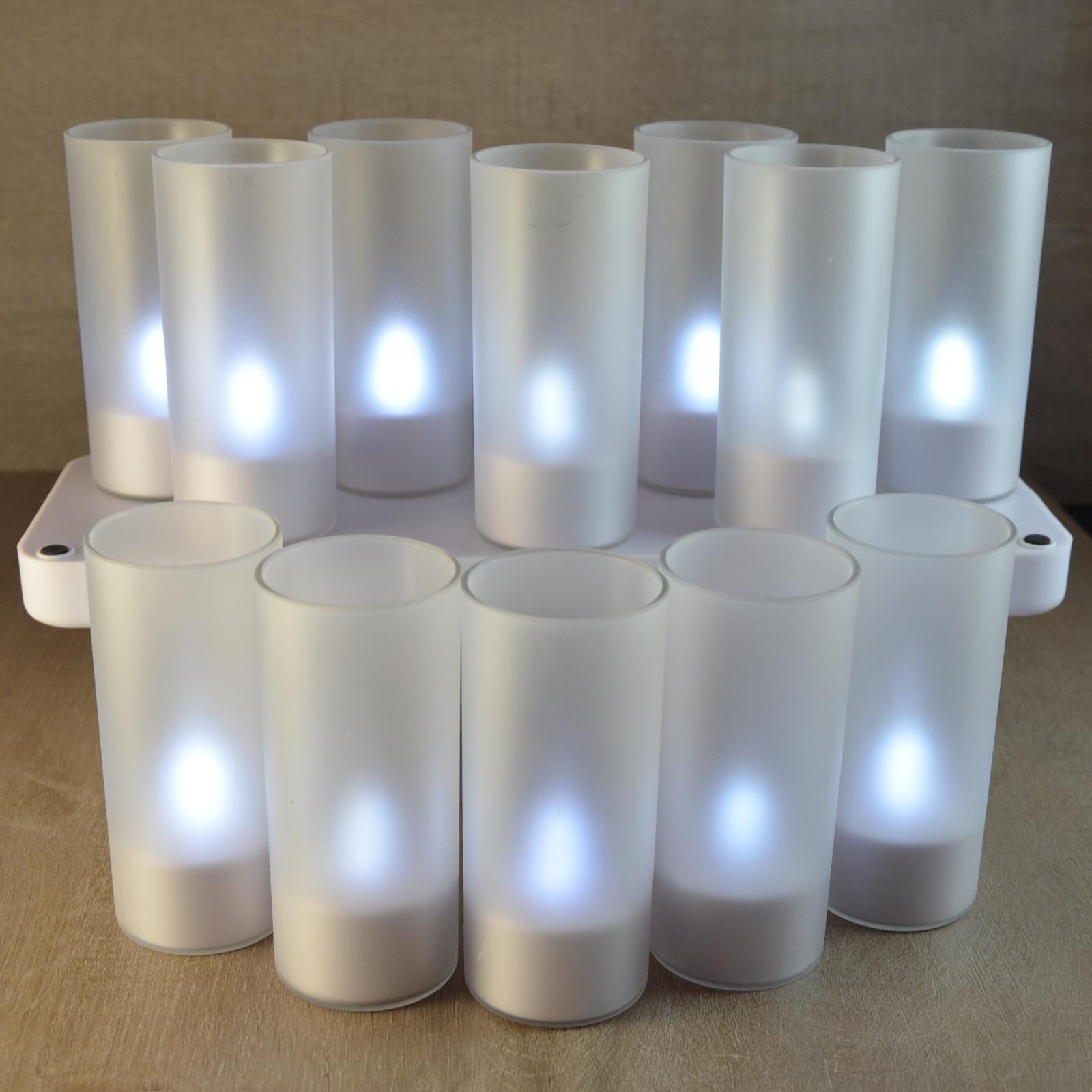 Set de 12 bougies Blancje à LED rechargeables