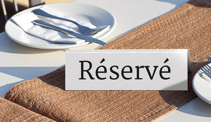 Chevalet de table réservé