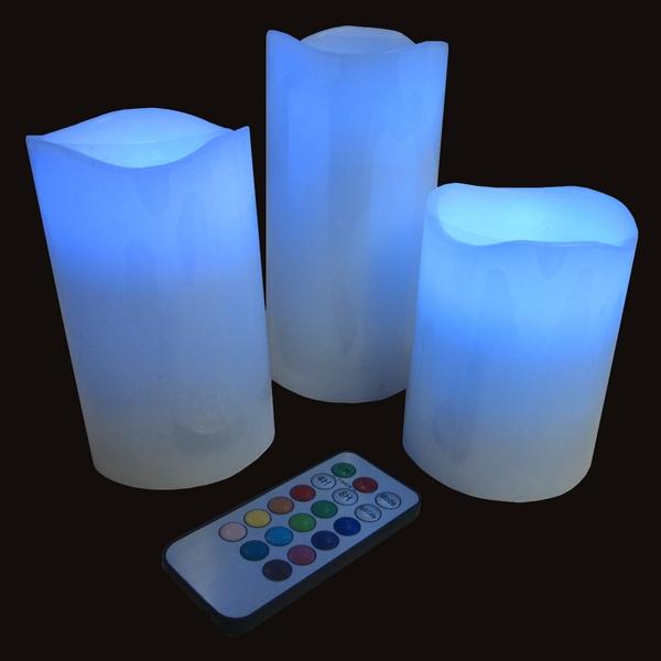 Set de 3 Bougies en cire véritable LED + Télécommande