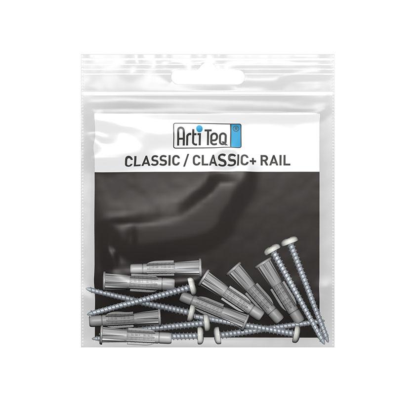 kit de 6 vis tète blanche et 6 chevilles pour classic rail