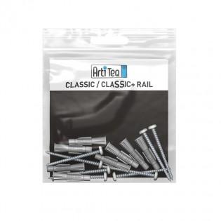 kit de 8 vis tète argent et 8 chevilles pour classic rail