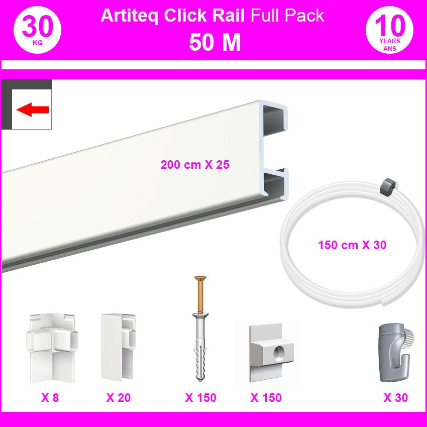Pack Eco 50 m: cimaise carril, haga clic en