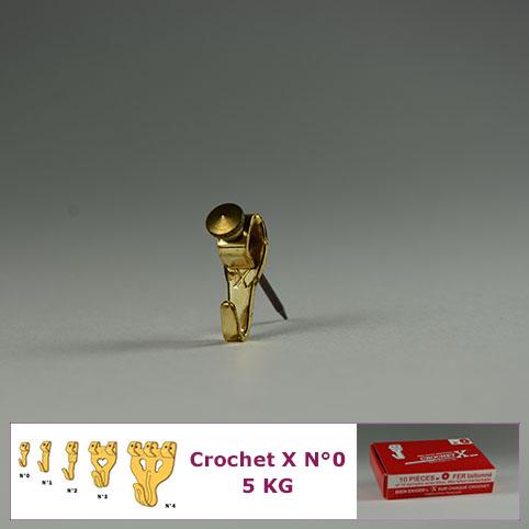 Crochet X N°0 jusqu'à 5 kg : Boite de 10