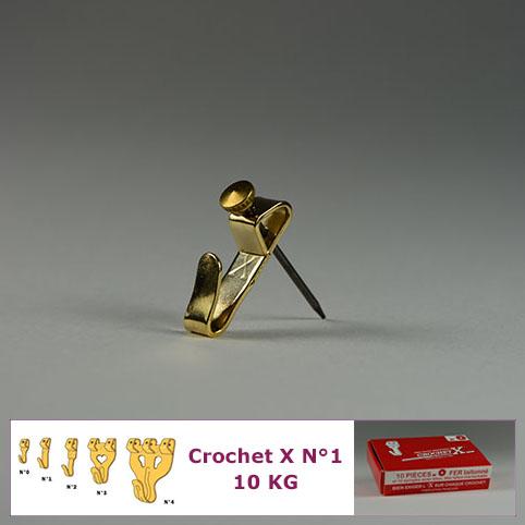 Crochet X N°1 jusqu'à 10 kg : Boite de 10