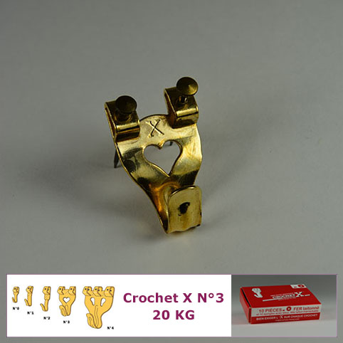 Crochet X N°3 jusqu'à 20 kg : Boite de 10