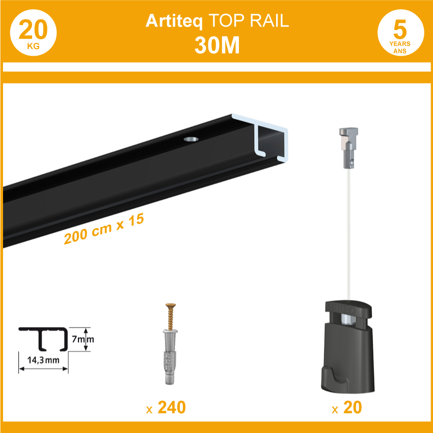 Pack cimaises top rail - 30 mètres