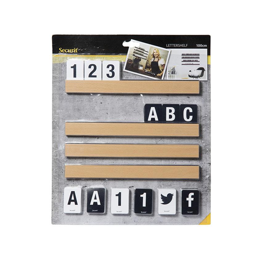 Etagère Lettre teck 1 m avec 169 lettres