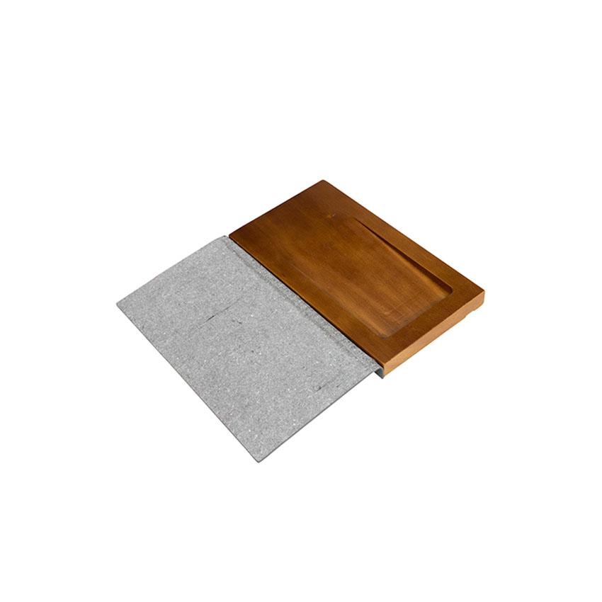 Porte addition bois et cuir gris