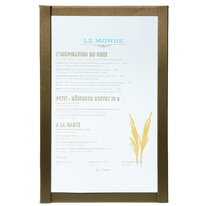 Protège menu magnetique A4 marron
