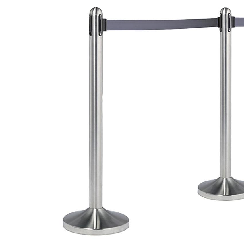 Poteau d'accueil à corde retractable grise