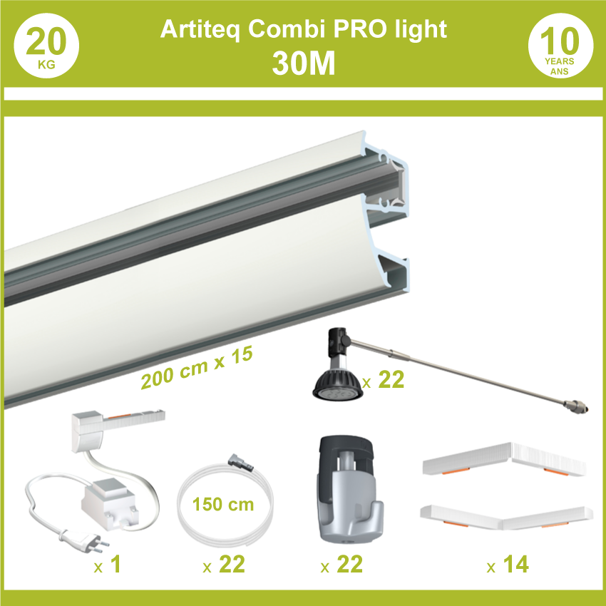 Pack completos rieles Combi Pro luz 30 metros