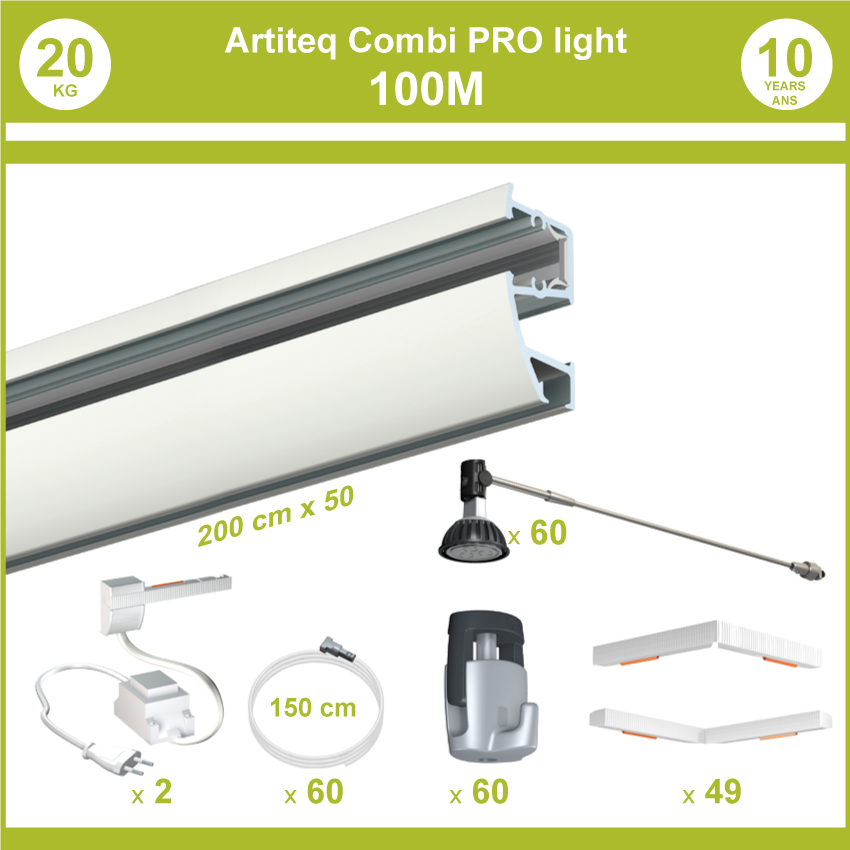 Pack completos rieles Combi Pro luz 100 metros