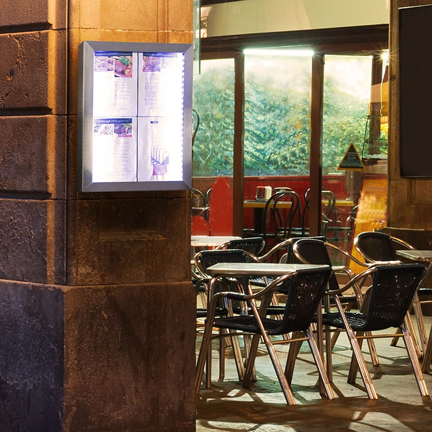 Porte-menu Led Classic acier inoxydable