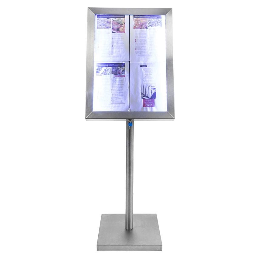 Porte-menú acero de LED inoxidable cepillado