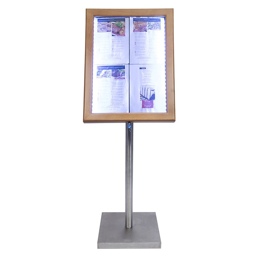 Porte-menu Led Classic bois aspect Teck