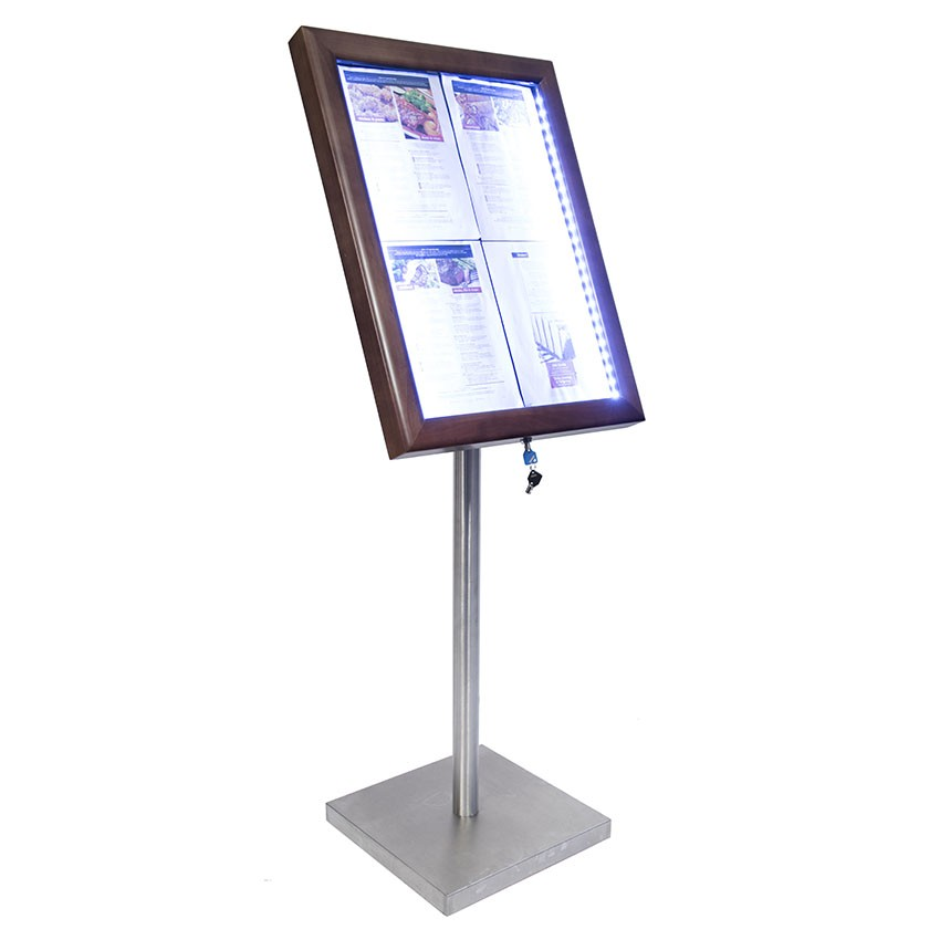 Porte-menu Led stainless steel brushed