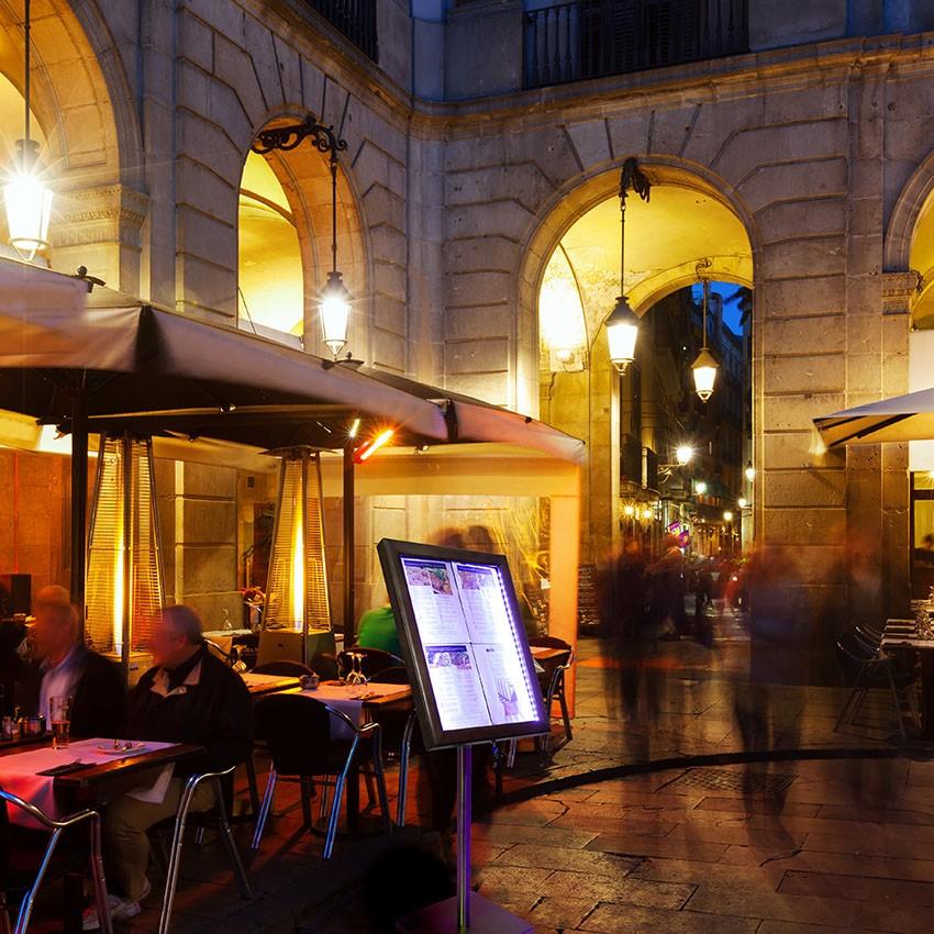 Porte-menu Led Classic bois aspect Wengé