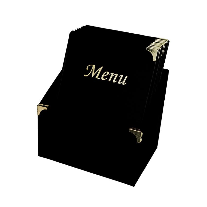 10 protège-menus Basic noir avec boite de rangement