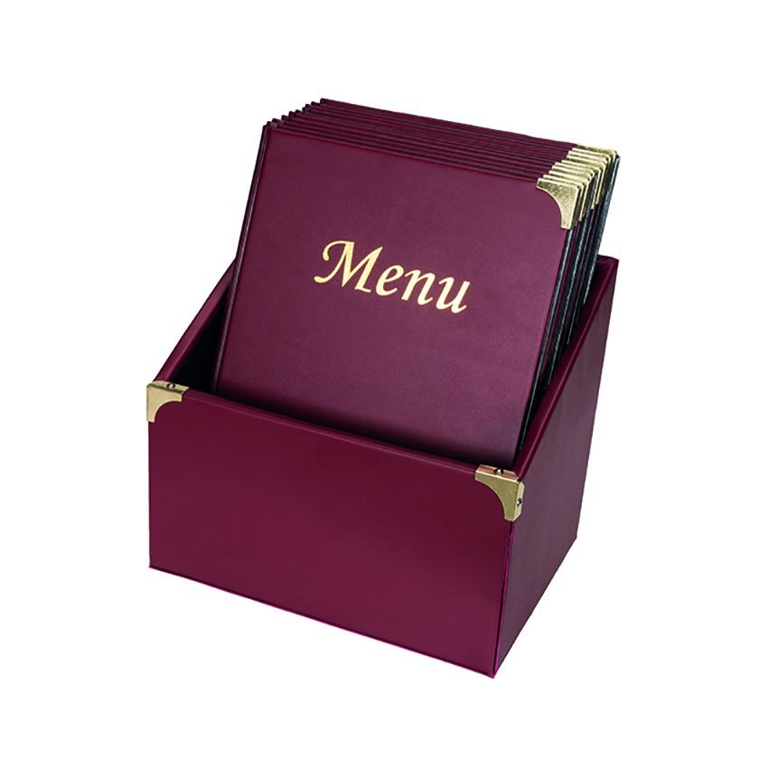 10 protège-menus Basic bordeaux avec boite de rangement