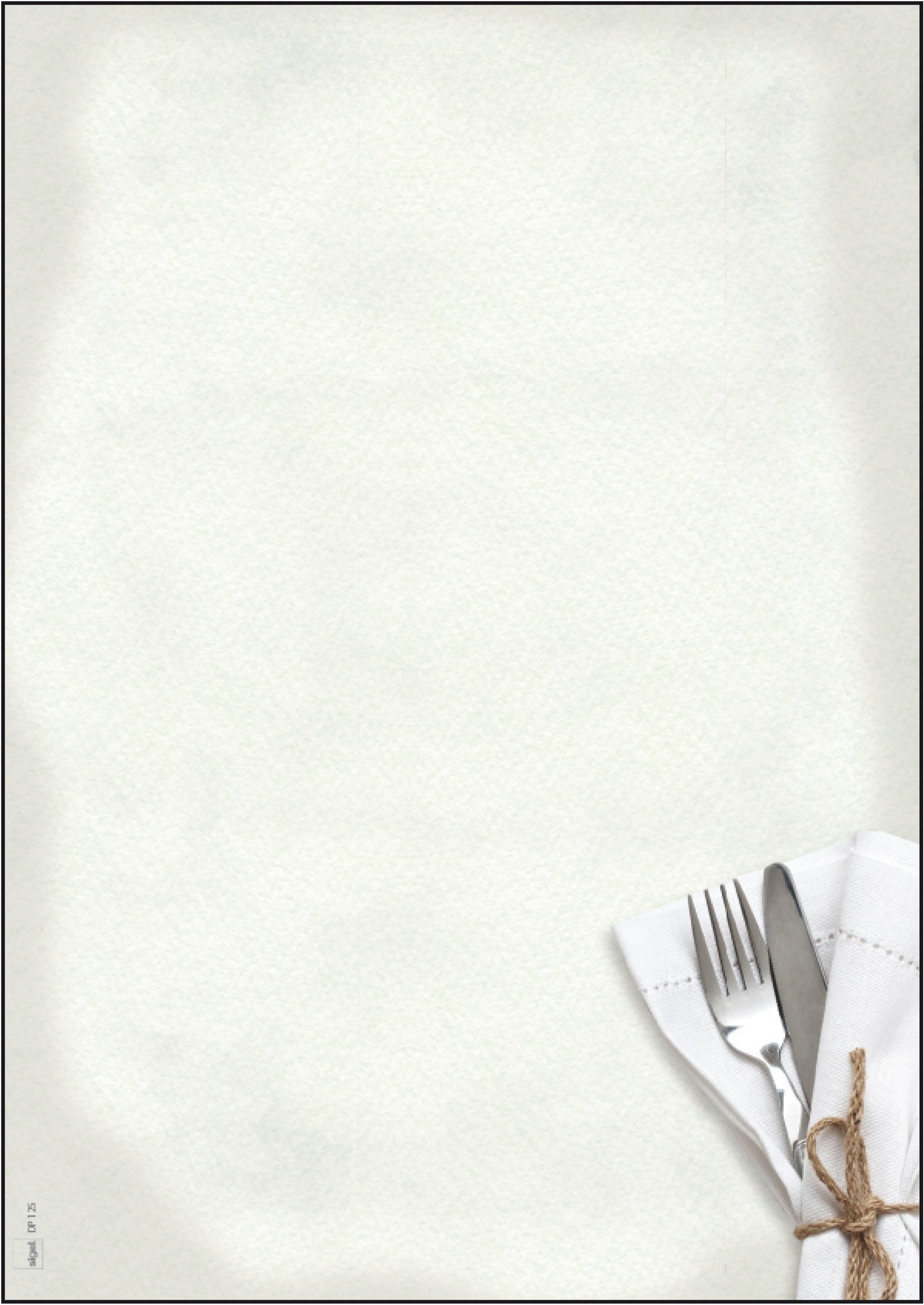 Papier créatif menu restaurant