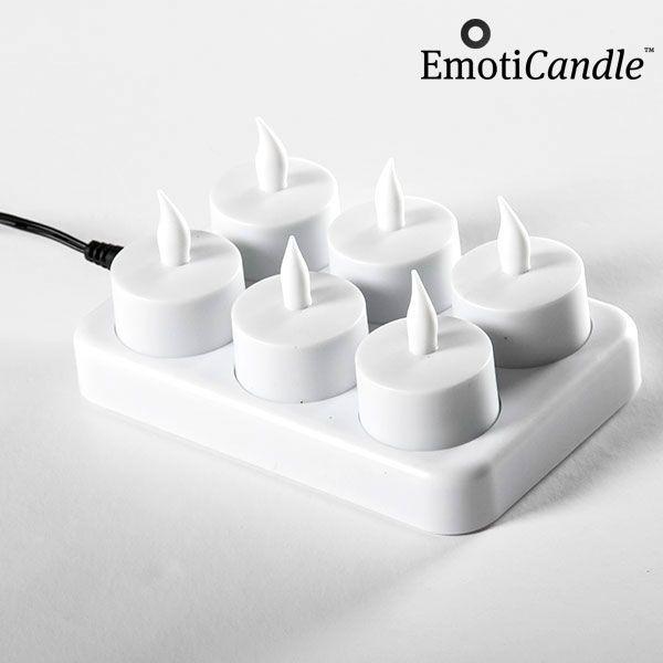 Set de 6 bougies jaune à LED rechargeables