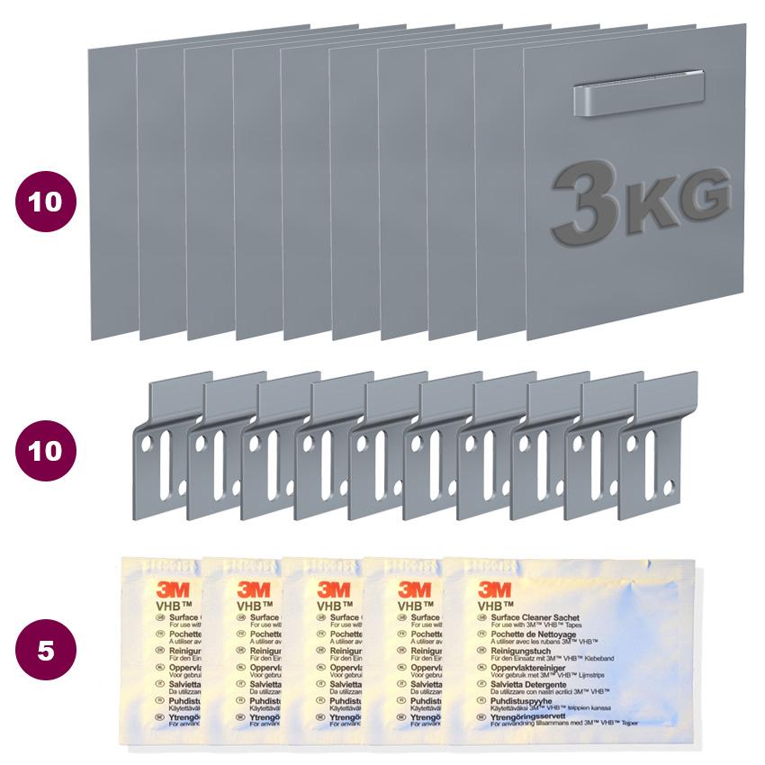 Accesorio de 70 x 70 mm dibond: máximo 3 kg