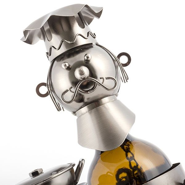 Porte bouteille chef de cuisine en métal