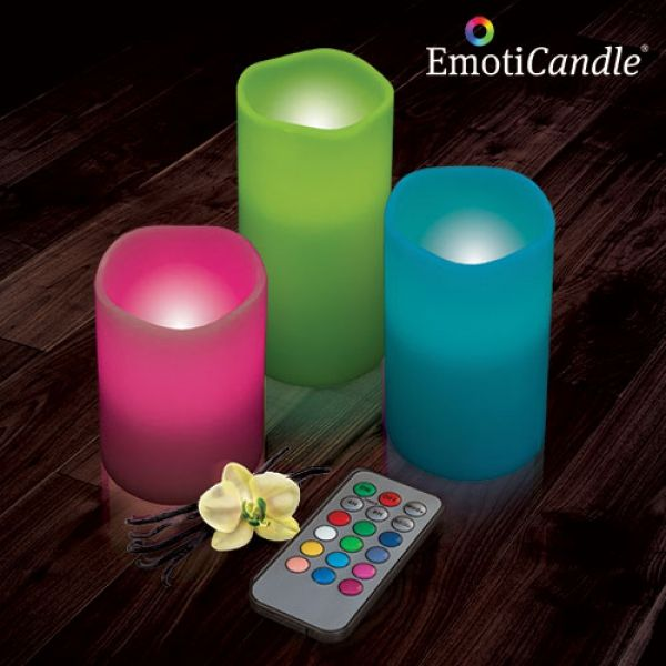 Set de 3 bougies LED multi-couleurs senteur vanille