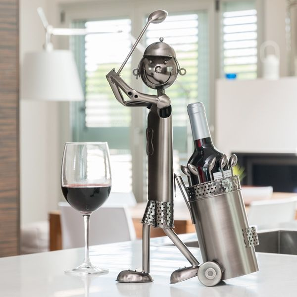 Porte bouteille golfeur en métal