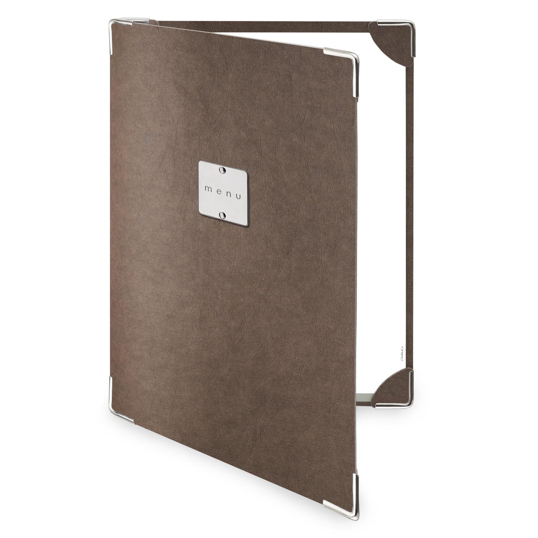 Protège menu 2 volets Ecologique marron aspect fibre lisse