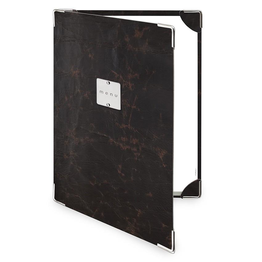 Protège menu 2 volets Ecologique marron aspect vintage épais
