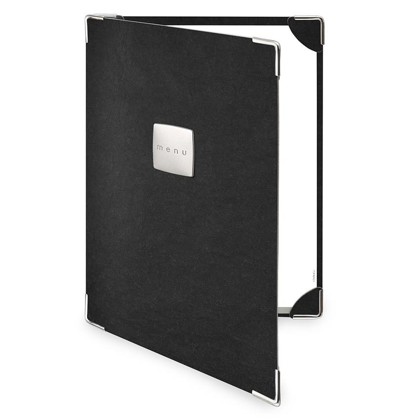 Protège menu 2 volets Ecologique noir aspect fibre lisse