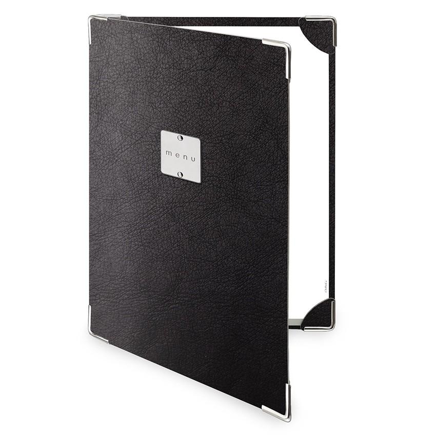 Protège menu 2 volets Ecologique noir aspect peau