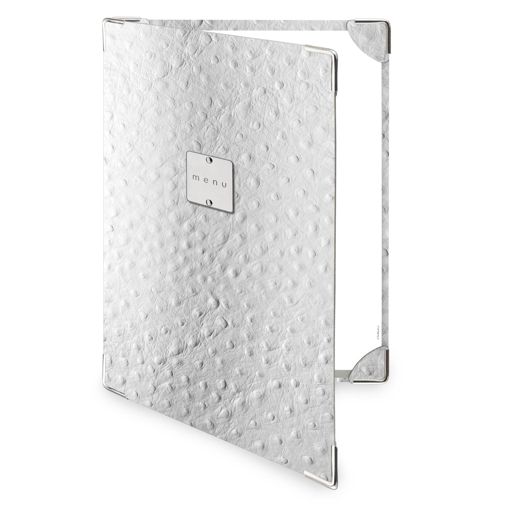 Protège menu 2 volets Fashion blanc aspect peau d'autruche