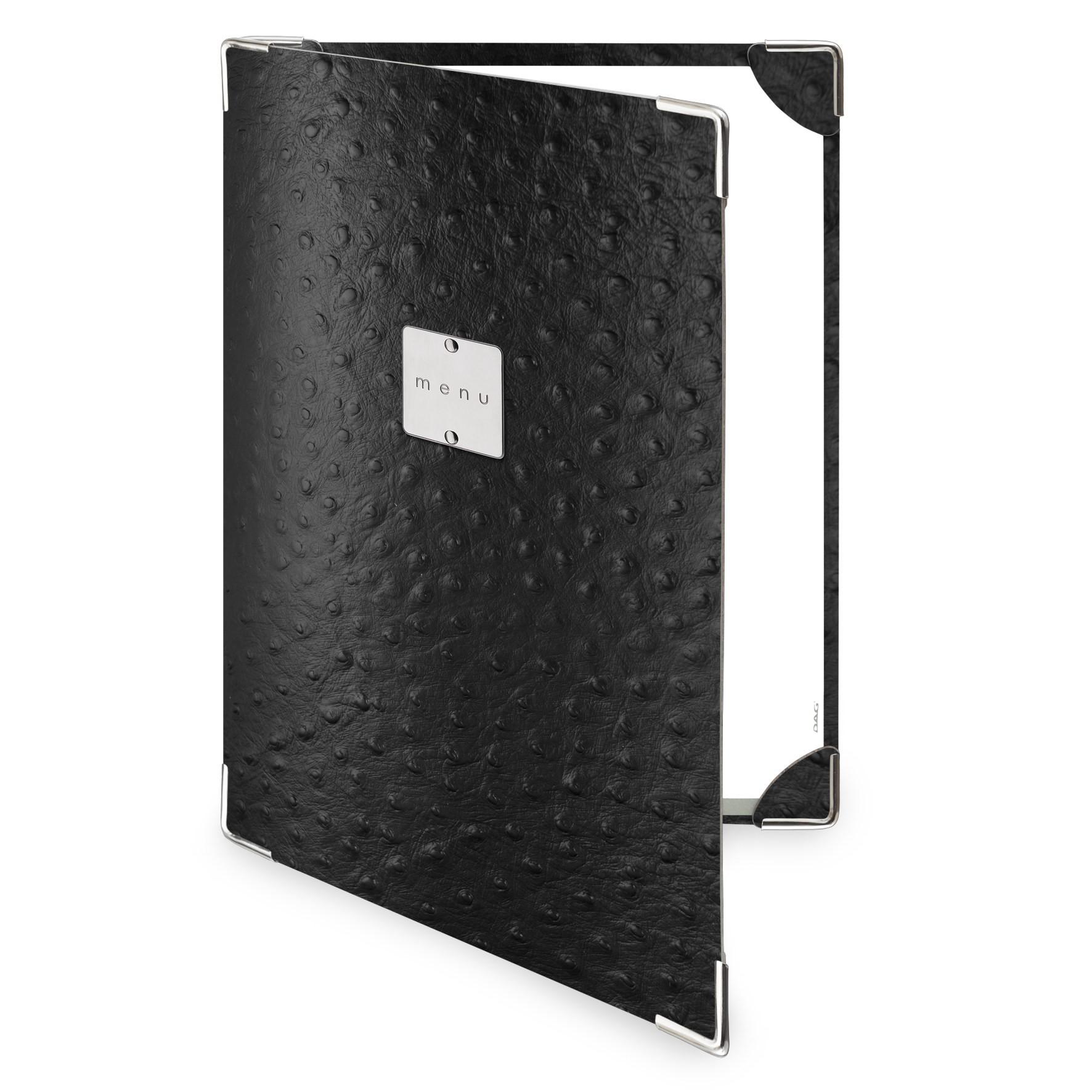 Protège menu 2 volets Fashion noir aspect peau d'autruche