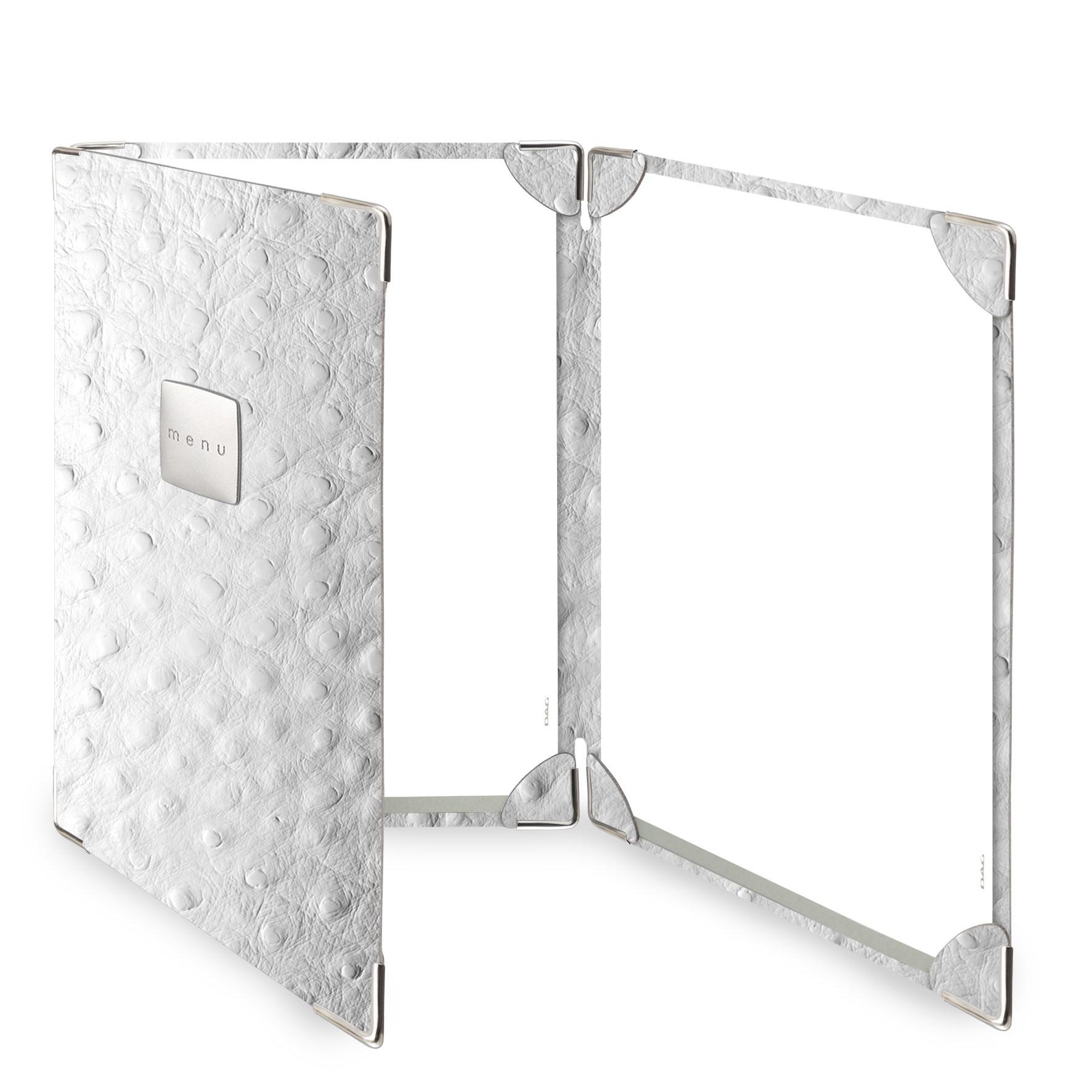 Protège menu 3 volets Fashion blanc aspect peau d'autruche